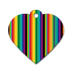 Multi Colored Colorful Bright Stripes Wallpaper Pattern Background Dog Tag Heart (One Side)