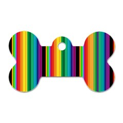 Multi Colored Colorful Bright Stripes Wallpaper Pattern Background Dog Tag Bone (one Side)