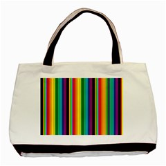 Multi Colored Colorful Bright Stripes Wallpaper Pattern Background Basic Tote Bag (two Sides)