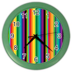 Multi Colored Colorful Bright Stripes Wallpaper Pattern Background Color Wall Clocks