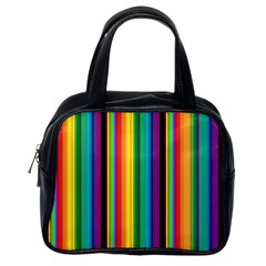 Multi Colored Colorful Bright Stripes Wallpaper Pattern Background Classic Handbags (one Side)