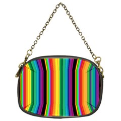 Multi Colored Colorful Bright Stripes Wallpaper Pattern Background Chain Purses (Two Sides)
