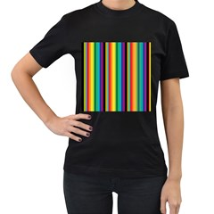 Multi Colored Colorful Bright Stripes Wallpaper Pattern Background Women s T-Shirt (Black)