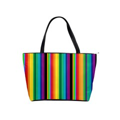 Multi Colored Colorful Bright Stripes Wallpaper Pattern Background Shoulder Handbags