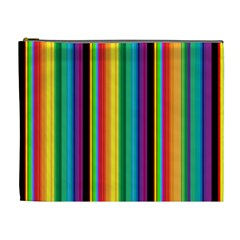 Multi Colored Colorful Bright Stripes Wallpaper Pattern Background Cosmetic Bag (XL)