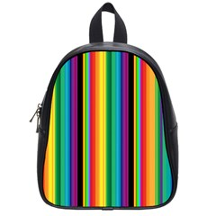 Multi Colored Colorful Bright Stripes Wallpaper Pattern Background School Bags (small)