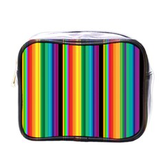 Multi Colored Colorful Bright Stripes Wallpaper Pattern Background Mini Toiletries Bags