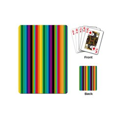 Multi Colored Colorful Bright Stripes Wallpaper Pattern Background Playing Cards (Mini)