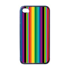 Multi Colored Colorful Bright Stripes Wallpaper Pattern Background Apple iPhone 4 Case (Black)