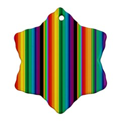 Multi Colored Colorful Bright Stripes Wallpaper Pattern Background Snowflake Ornament (Two Sides)