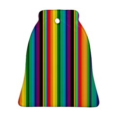 Multi Colored Colorful Bright Stripes Wallpaper Pattern Background Bell Ornament (Two Sides)