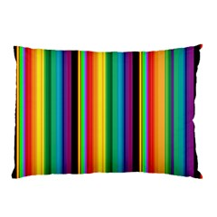 Multi Colored Colorful Bright Stripes Wallpaper Pattern Background Pillow Case (Two Sides)