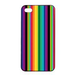 Multi Colored Colorful Bright Stripes Wallpaper Pattern Background Apple Iphone 4/4s Seamless Case (black)