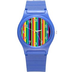 Multi Colored Colorful Bright Stripes Wallpaper Pattern Background Round Plastic Sport Watch (S)