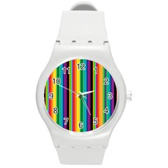 Multi Colored Colorful Bright Stripes Wallpaper Pattern Background Round Plastic Sport Watch (M)