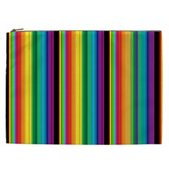 Multi Colored Colorful Bright Stripes Wallpaper Pattern Background Cosmetic Bag (xxl)