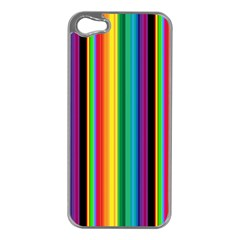 Multi Colored Colorful Bright Stripes Wallpaper Pattern Background Apple Iphone 5 Case (silver)