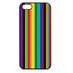 Multi Colored Colorful Bright Stripes Wallpaper Pattern Background Apple Iphone 5 Seamless Case (black)