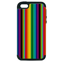 Multi Colored Colorful Bright Stripes Wallpaper Pattern Background Apple iPhone 5 Hardshell Case (PC+Silicone)