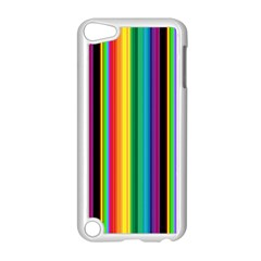 Multi Colored Colorful Bright Stripes Wallpaper Pattern Background Apple Ipod Touch 5 Case (white)