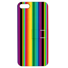 Multi Colored Colorful Bright Stripes Wallpaper Pattern Background Apple iPhone 5 Hardshell Case with Stand