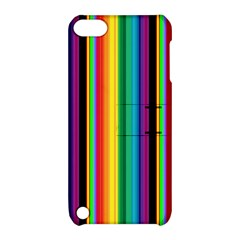 Multi Colored Colorful Bright Stripes Wallpaper Pattern Background Apple iPod Touch 5 Hardshell Case with Stand