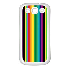 Multi Colored Colorful Bright Stripes Wallpaper Pattern Background Samsung Galaxy S3 Back Case (white)