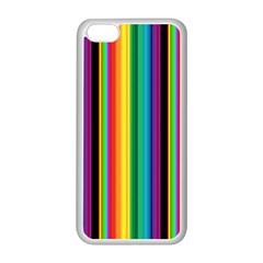 Multi Colored Colorful Bright Stripes Wallpaper Pattern Background Apple iPhone 5C Seamless Case (White)