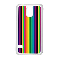 Multi Colored Colorful Bright Stripes Wallpaper Pattern Background Samsung Galaxy S5 Case (white)