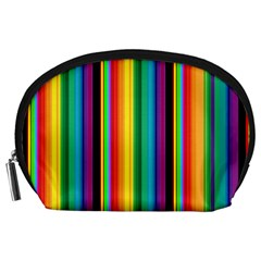 Multi Colored Colorful Bright Stripes Wallpaper Pattern Background Accessory Pouches (large)