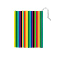 Multi Colored Colorful Bright Stripes Wallpaper Pattern Background Drawstring Pouches (medium)