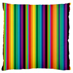Multi Colored Colorful Bright Stripes Wallpaper Pattern Background Large Flano Cushion Case (Two Sides)