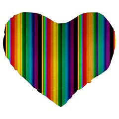 Multi Colored Colorful Bright Stripes Wallpaper Pattern Background Large 19  Premium Flano Heart Shape Cushions