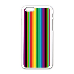 Multi Colored Colorful Bright Stripes Wallpaper Pattern Background Apple iPhone 6/6S White Enamel Case