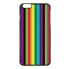 Multi Colored Colorful Bright Stripes Wallpaper Pattern Background Apple Iphone 6 Plus/6s Plus Black Enamel Case