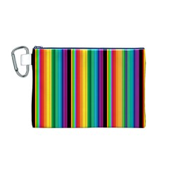 Multi Colored Colorful Bright Stripes Wallpaper Pattern Background Canvas Cosmetic Bag (m)
