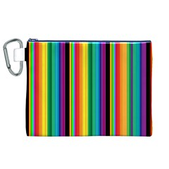 Multi Colored Colorful Bright Stripes Wallpaper Pattern Background Canvas Cosmetic Bag (xl)