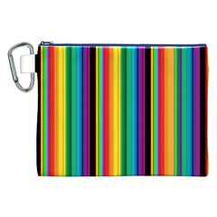 Multi Colored Colorful Bright Stripes Wallpaper Pattern Background Canvas Cosmetic Bag (XXL)