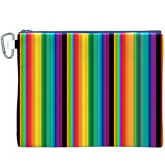 Multi Colored Colorful Bright Stripes Wallpaper Pattern Background Canvas Cosmetic Bag (XXXL)