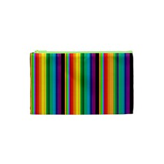 Multi Colored Colorful Bright Stripes Wallpaper Pattern Background Cosmetic Bag (xs)