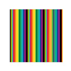 Multi Colored Colorful Bright Stripes Wallpaper Pattern Background Small Satin Scarf (square)