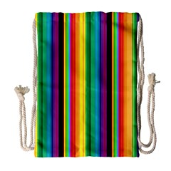 Multi Colored Colorful Bright Stripes Wallpaper Pattern Background Drawstring Bag (Large)