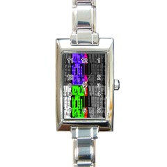 Repeated Tapestry Pattern Rectangle Italian Charm Watch