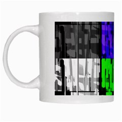 Repeated Tapestry Pattern White Mugs
