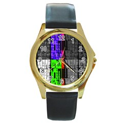 Repeated Tapestry Pattern Round Gold Metal Watch