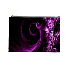 Purple Flower Floral Cosmetic Bag (Large)