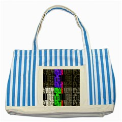 Repeated Tapestry Pattern Striped Blue Tote Bag