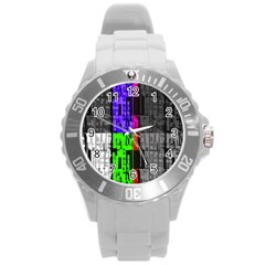Repeated Tapestry Pattern Round Plastic Sport Watch (L)