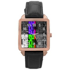 Repeated Tapestry Pattern Rose Gold Leather Watch
