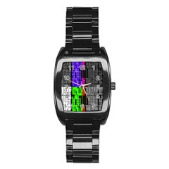 Repeated Tapestry Pattern Stainless Steel Barrel Watch